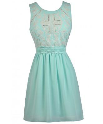 Sky Blue Embellished Dress, Blue Mint Dress, Pale Blue Party Dress, Stud Embellished Blue Dress