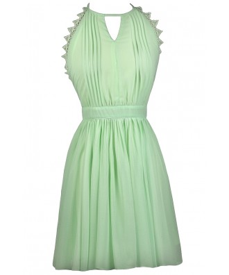 Lime Mint Party Dress, Cute Summer Dress, Lime Mint A-Line Dress, Lime Halter Dress