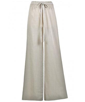 Beige Wide Leg Pants, Beige Pinstripe Linen Palazzo Pants, Swimwear Coverup Pants, Cute Summer Pants, Linen Wide Leg Pants