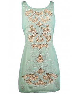 Mint and Beige Shift Dress, Cute Mint Dress, Mint Summer Dress, Ark and Co Dress