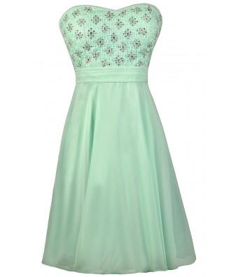 Mint Beaded Dress, Mint Prom Dress, Mint Homecoming Dress, Mint Strapless Dress, Cute Mint Dress