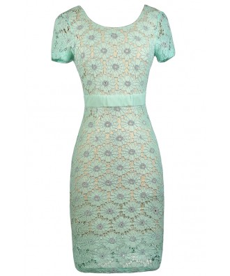 Mint Lace Dress, Mint and Beige Lace Dress, Mint Sheath Dress, Mint Capsleeve Lace Dress, Mint Pencil Dress