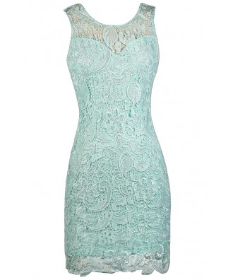 Mint Lace Dress, Cute Mint Dress, Mint Lace Sheath Dress, Mint Cocktail Dress