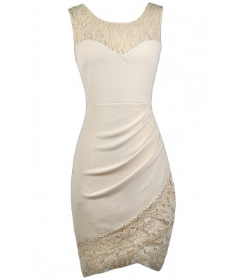 Cute Beige Dress, Beige Lace Dress, Beige Cocktail Dress, Beige Party Dress, Beige Lace Trim Dress