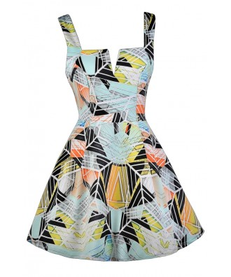 Cute Printed Dress, Graphic Print Dress, Line Print Dress, Printed A-Line Dress, Cute Party Dress