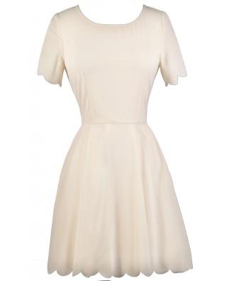 Ivory Scallop Hemline Dress, Ivory Rehearsal Dinner Dress, Ivory Bridal Shower Dress, Cute Ivory Party Dress