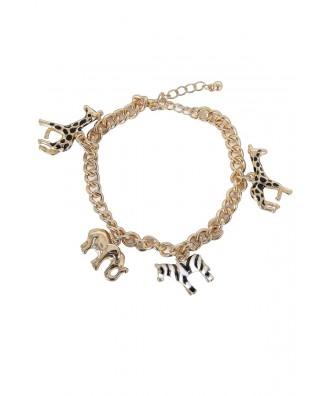Gold Charm Bracelet, Cute Jewelry, Animal Charm Bracelet