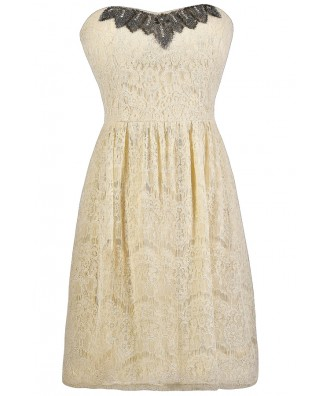 Ivory Lace Dress, Ivory A-Line Dress, Ivory Embellished Dress, Ivory Lace Rehearsal Dinner Dress