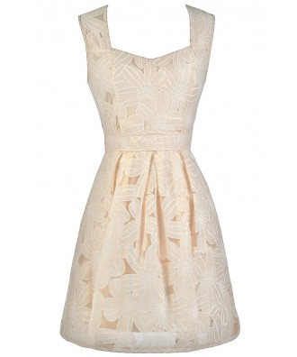Beige Floral Pattern Dress, Cute Beige Dress, Beige Party Dress, Beige Rehearsal Dinner Dress