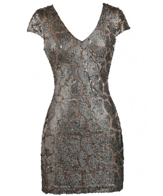 Bronze Mocha Sequin Party Dress, Bronze Mocha Sequin Cocktail Dress, Cute New Years Drses, Cute Holiday Dress, Sequin Party Dress