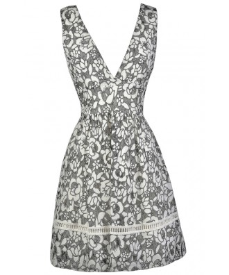 Black and White Floral Dress, Cute Black and White Dress, Black and White Floral Print A-line Dress