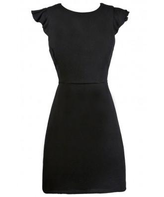Black Flutter Sleeve Sheath Dress, Little Black Dress, Cute Work Dress