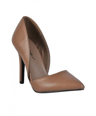 Beige D'orsay Pumps, Cute Beige Pumps, Nude Pumps, Nude Pointed Toe Pumps