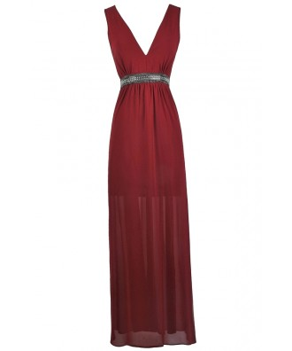 Burgundy Embellished Maxi Dress, Burgundy Red Prom Dress, Beaded Burgundy Red Formal Dress