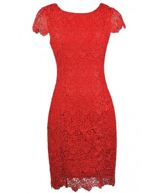 Red Lace Pencil Dress, Red Capsleeve Lace Dress, Red Lace Pencil Dress
