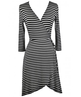 Black and White Stripe Wrap Dress, Cute Wrap Dress, Black and White Nautical Stripe Dress