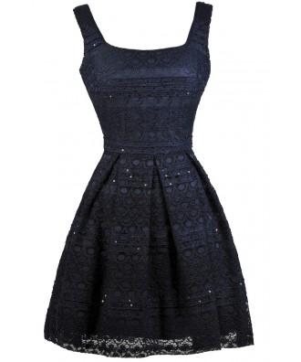 Cute navy Dress, Navy Lace Party Dress, Navy Lace Cocktail Dress, Navy Lace Sundress