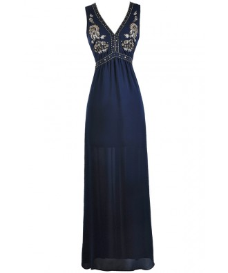 Navy Beaded Maxi Dress, Navy Prom Dress, Navy Embellished Maxi Dress, Cute Navy Dress