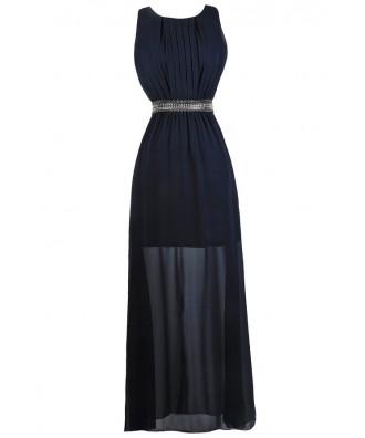 Navy Beaded Maxi Dress, Navy Maxi Bridesmaid Dress, Navy Formal Dress, Navy Prom Dress