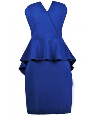 Bright Blue Cocktail Dress, Royal Blue Party Dress, Royal Blue Peplum Dress
