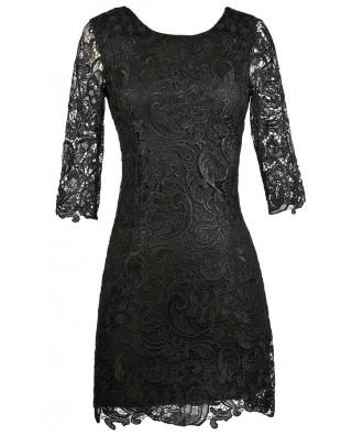 Black Lace Dress, Black Lace Sheath Dress, Little Black Dress, Black Cocktail Dress