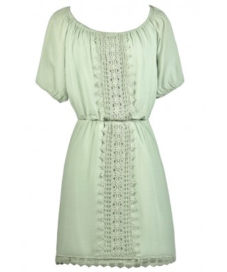 Cute Mint Sundress, Cute Summer Dress, Mint Sage Crochet Lace Dress