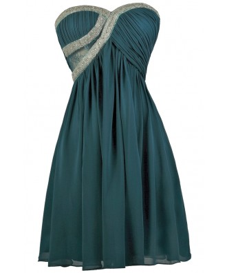 Beaded Teal Dress, Teal Bridesmaid Dress, Teal Party Dress, Cute Teal Dress