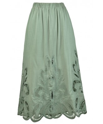 Sage Green Lasercut Midi Skirt, Sage Green Longer Length Skirt, Cute Sage Green Skirt