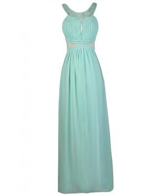 Mint Maxi Dress, Cute Mint Dress, Mint Bridesmaid Dress, Mint Formal Dress