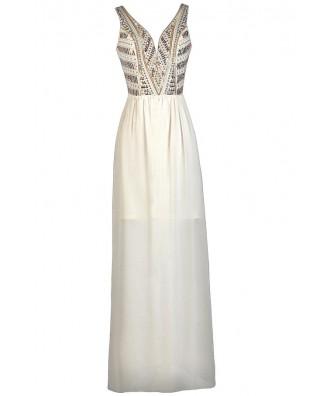 Ivory Embellished Maxi Dress, Ivory Prom Dress, Cute Maxi Dress, Ivory and Gold Maxi Dress