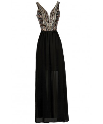 Black Embellished Maxi Dress, Cute Maxi Dress, Black Formal Dress, Black Prom Dress