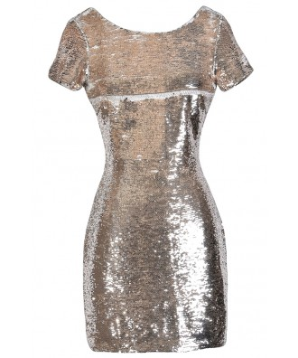 Gold Sequin Dress, Sequin Party Dress, Cute New Year's Eve Dress, Gold Cocktail Dress