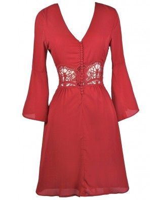Cute Red Dress, Red Bell Sleeve Dress, Red Summer Dress, Cute Red Dress