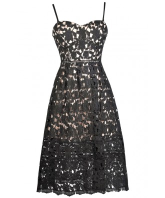 Black Lace Midi Dress, Black and Beige Lace Dress, Black Lace A-Line Dress