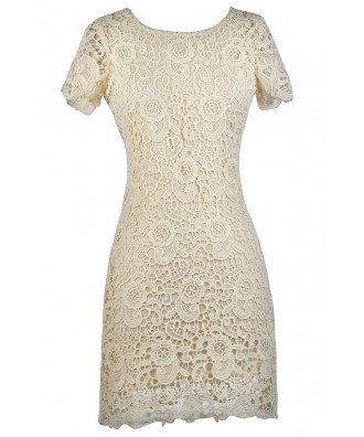 Beige Lace Rehearsal Dinner Dress