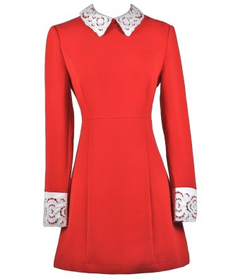 Cute Red Dress, Red Dress Boutique Dress, Red Peter Pan Collar Dress