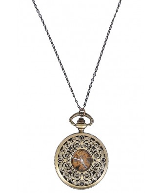 Gold Clock Pendant, Gold Watch Necklace, Cute Jewelry