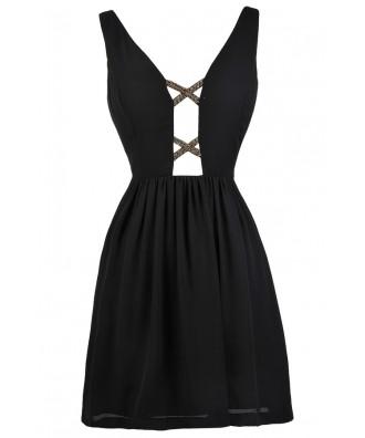 Black Plunging Neckline Dress, Little Black Dress, Black Cocktail Dress, Black Party Dress