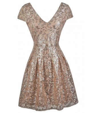 Gold Sequin Party Dress, Cute Gold Dress, Gold Sequin Cocktail Dress