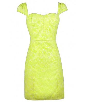 Bright Yellow Lace Dress, Cute Yellow Dress, Yellow Pencil Dress