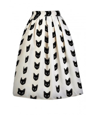 Black Cat Print Skirt, Cat Print A-Line Skirt, Beige and Black Printed Skirt