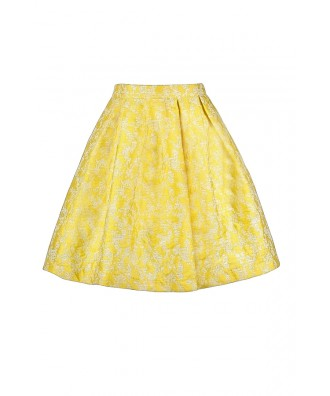 Yellow A-Line Skirt, Cute Yellow Skirt, Yellow Summer Skirt