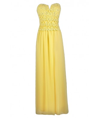 Yellow Lace Maxi Dress, Cute Yellow Dress, Yellow Bridesmaid Dress