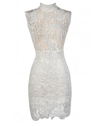White Lace Dress, Bachelorette Party Dress, Mandarin Collar Lace Dress