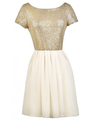 Beige and Gold Sequin Party Dress, Cute Cocktail Dress, Gold Sequin Party Dress
