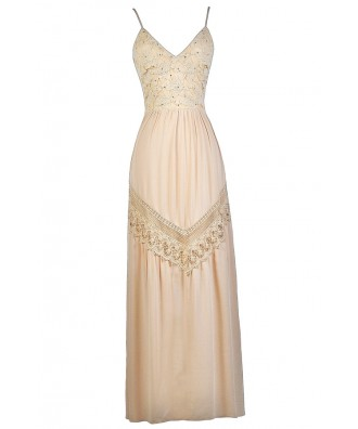 Beige Crochet Lace Maxi Dress, Cute Beige Dress, Beige Summer Dress