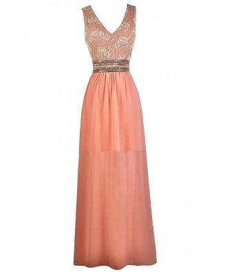 Peachy Pink Lace Maxi Dress, Pink Maxi Bridesmaid Dress