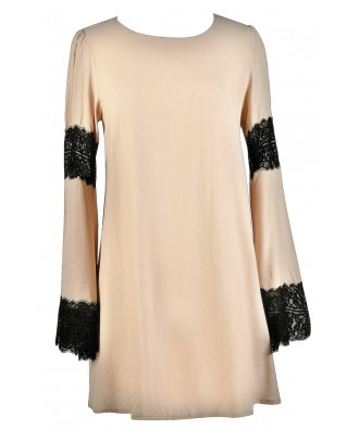Beige and Black Bell Sleeve Dress, Cute Boho Dress, Black and Beige Lace Dress