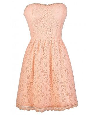 Strapless Pink Lace Dress, Pink Lace Bridesmaid Dress, Cute Pink ...