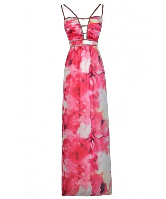 Pink Floral Print Maxi Dress, Cute Summer Dress, Cute Maxi Dress